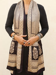 Bagh Hand Block Printed - Pure Crepe Silk Stole
