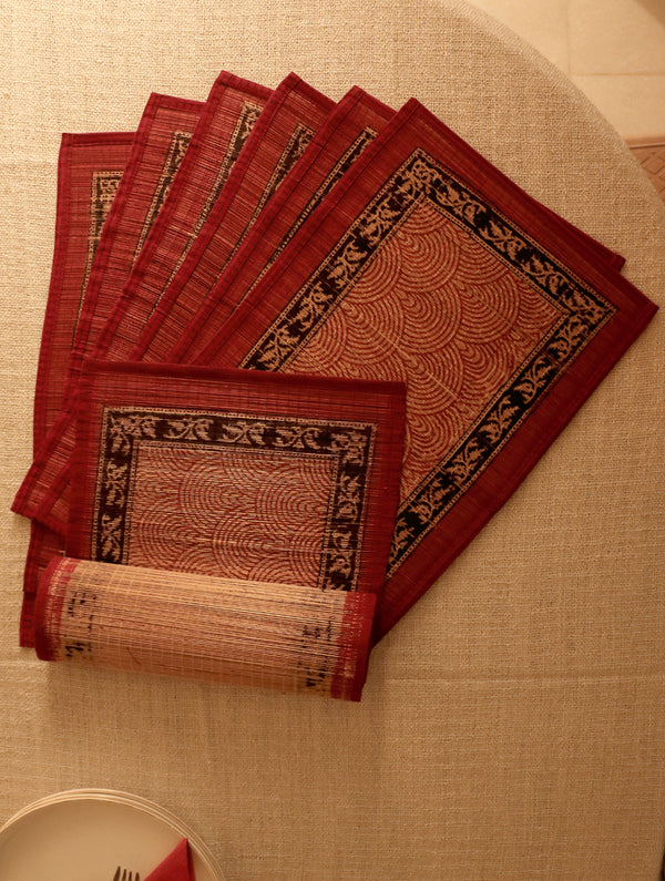 Bagh Print Table Mats & Runner (Set of 7) - The India Craft House