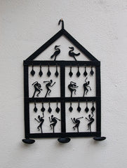 Bastar Tribal Art Wall Plaque & Candle Holder