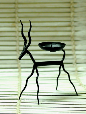 Bastar Tribal Art - Candle Holder - Deer - The India Craft House 1