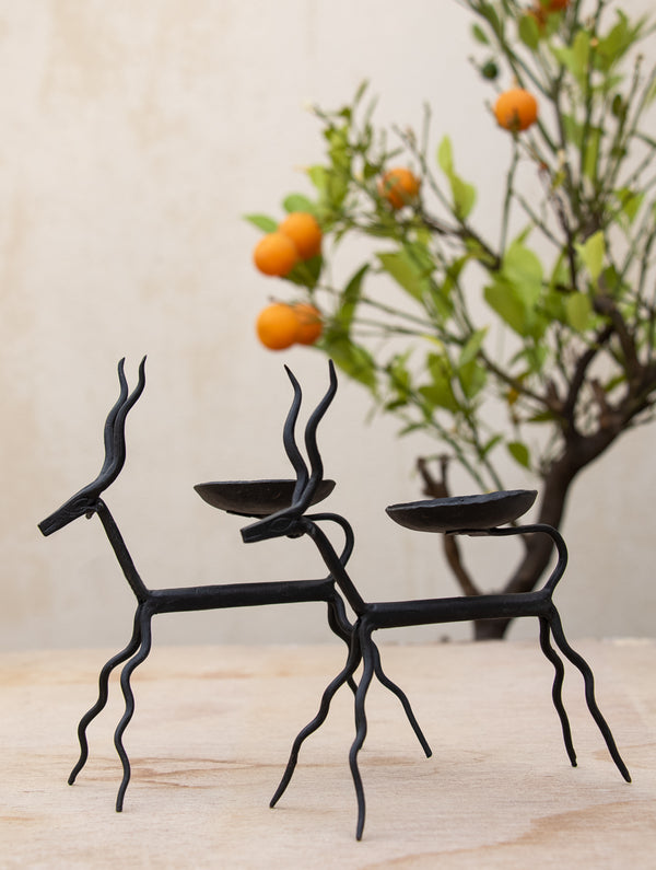 Bastar Tribal Art - Candle Holders - Deer (Set of 2) - The India Craft House