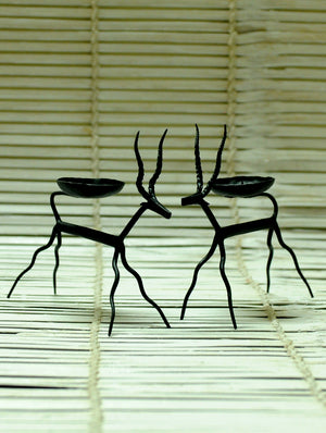 Bastar Tribal Art - Candle Holders - Deer (Set of 2) - The India Craft House 1