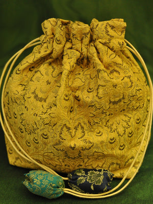 Benarasi Cloth - Potli Bag with strings - The India Craft House