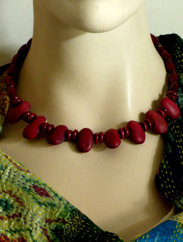 Bengal Seeds Choker - Deep Red - The India Craft House