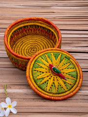 Bhadohi Basket Craft - Multi-Utility Round Basket With Bird On Lid