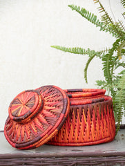 Bhadohi Basket Craft - Multi-Utility Round Basket with Lid - (Large)
