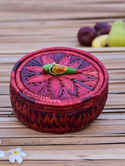 Bhadohi Basket Craft - Utility Round Basket With Lid