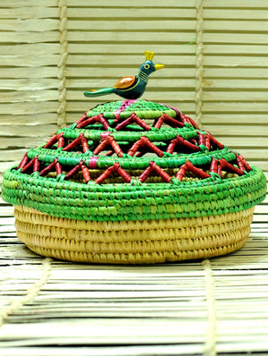Bhadohi Basket Craft - Multi-Utility Basket, Green & Beige - The India Craft House