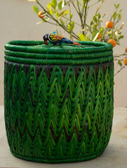 Bhadohi Basket Craft - Multi-Utility Bin Basket with lid