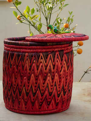 Bhadohi Basket Craft - Multi-Utility Bin Basket with lid - The India Craft House