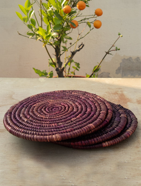 Bhadohi Basket Craft -  Table Pot Holders, Round - The India Craft House