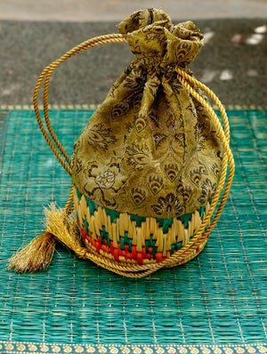 Bhadohi & Brocade Gift Pouch - The India Craft House