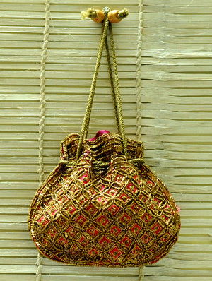 Bhopal Beadwork - Potli Bag, Dull Gold on Pink Satin Silk - The India Craft House
