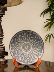 "Bidri Craft Wall Plate / Table Curio - Mughal Series (Dia 8"")"