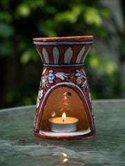 Blue Pottery Aroma Oil Diffuser Lamp