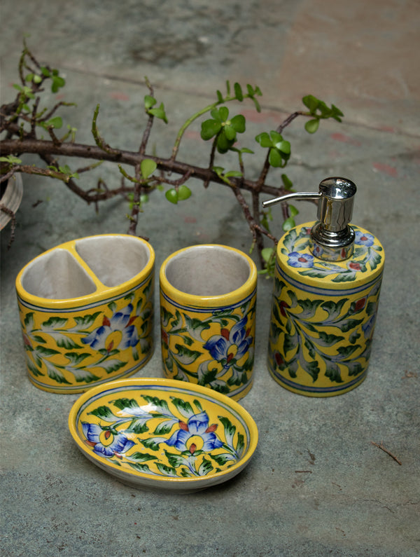 Blue Pottery Bathroom Dispenser Set (4 pc set) - The India Craft House