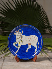 "Blue Pottery Decorative Plate in Wooden Box - Cow (Royal Blue; 10"")"