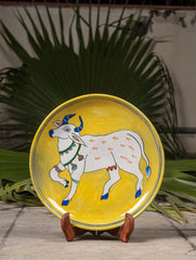 "Blue Pottery Decorative Plate in Wooden Box - Cow (Yellow; 10"")"