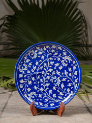 "Blue Pottery Decorative Plate in Wooden Box - Floral (Royal Blue; 10"")"