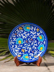 "Blue Pottery Decorative Plate in Wooden Box - Floral (Royal Blue, Yellow; 8"")"