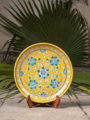 "Blue Pottery Decorative Plate in Wooden Box - Floral (Yellow; 10"")"