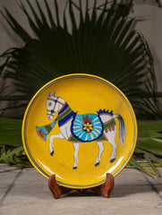 "Blue Pottery Decorative Plate in Wooden Box - Horse (Yellow; 10"")"