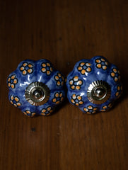 Blue Pottery Door Knobs - (Set of 2)