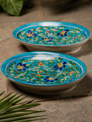 Blue Pottery Oval Serving Dishes - Small (Set of 2)