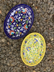 Blue Pottery Oval Serving Dishes (Set of 2)
