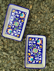 Blue Pottery Serving Dishes (Set of 2) - Rectangular