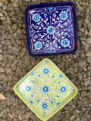 Blue Pottery Square Serving Dishes (Set of 2)