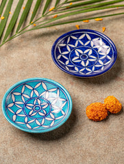 Blue Pottery Tealight Holders (Set of 2)