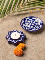 Blue Pottery Tealight Holders (Set of 2) - Star Shaped Tealight and Incense Stick Holder