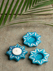 Blue Pottery Tealight Holders (Set of 3) - Star Shaped