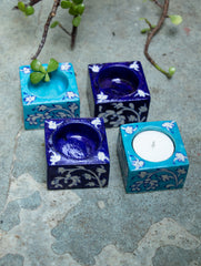 Blue Pottery Tealight Holders (Set of 4)