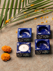 Blue Pottery Tealight Holders (Set of 4) - Square Shaped