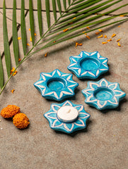 Blue Pottery Tealight Holders (Set of 4) - Star Shaped