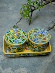 Blue Pottery Utility Jars with Tray (3 pc set)