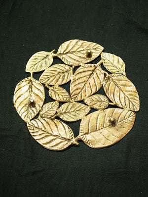 Brass Banyan Leaf Plate / Wall Plaque - The India Craft House