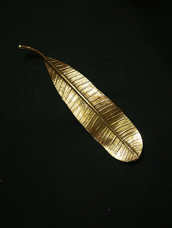 Brass Incense Holder / Curio - Temple Flower Leaves - The India Craft House