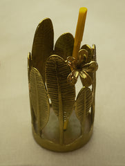 Brass  Pen / Spoon Holder - Temple Flower Leaves