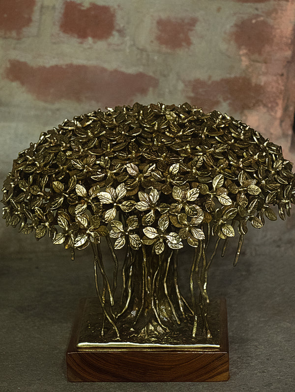 Brass Sculpture - Banyan Tree (Large) - The India Craft House