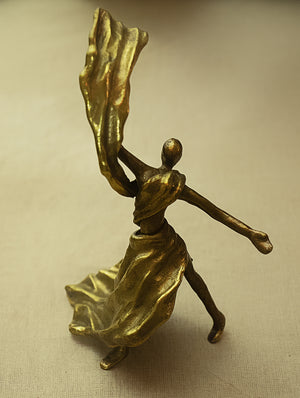 Brass Sculpture - Swirling Lady - The India Craft House