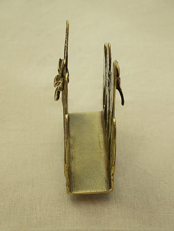 Brass  Pen / Spoon Holder - Temple Flower Leaves - The India Craft House