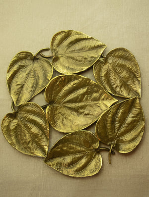 Brass Wall Plaque / Serving Platter - Paan Leaves - The India Craft House