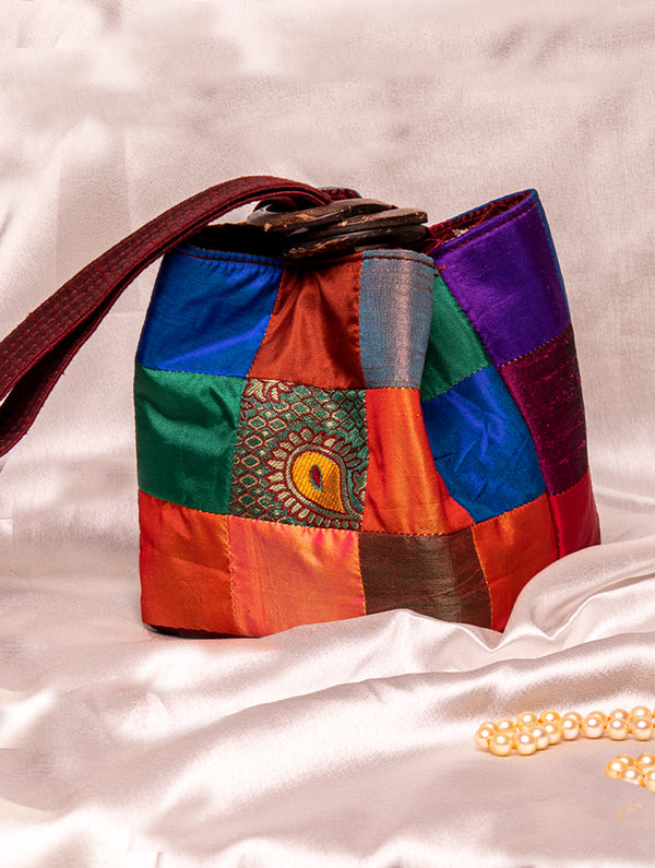 Brocade Square Potli Bags with Coconut Shell Handle