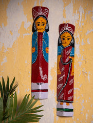 Burdwan Wood Craft Wall Piece / Curio - Bride & Groom (Set of 2)