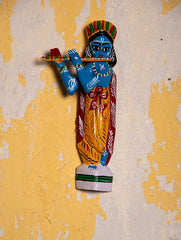 Burdwan Wood Craft Wall Piece / Curio - Lord Krishna