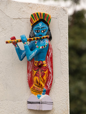 Burdwan Wood Craft Wall Piece  / Curio - Lord Krishna with his flute - The India Craft House