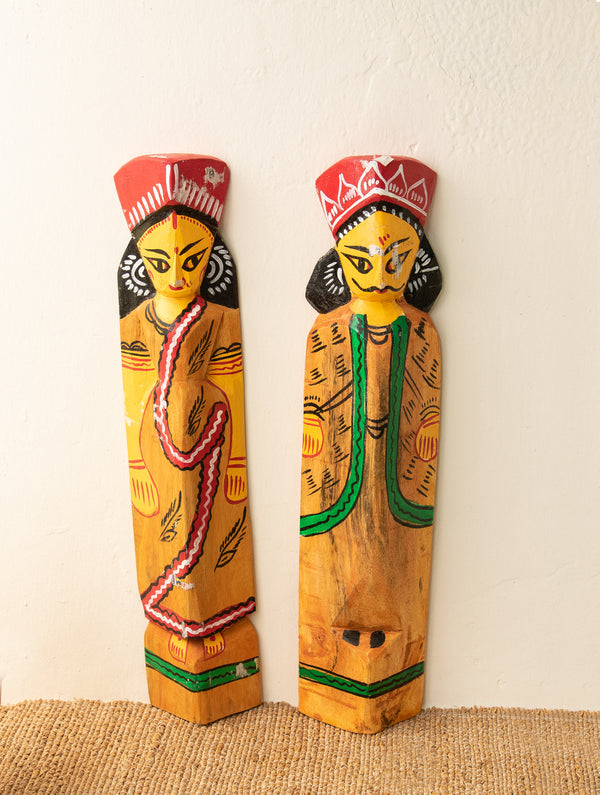 Burdwan Wood Craft Wall Piece / Curio - Bride & Groom (Set of 2) - The India Craft House